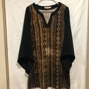 Aryeh boho tunic dress pointy bell sleeves size S